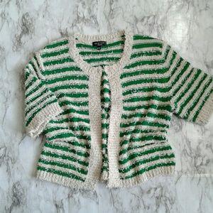Spense Knits Stripe Short Sleeve Cardigan Sweater